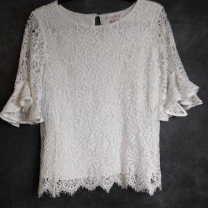 NANETTE LEPORE | White Lace Bell Sleeve Blouse Med